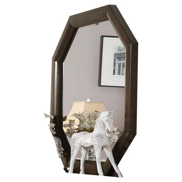 Octagonal Transitional Style Beveled Wooden Mirror, Brown and Silver - BM205625