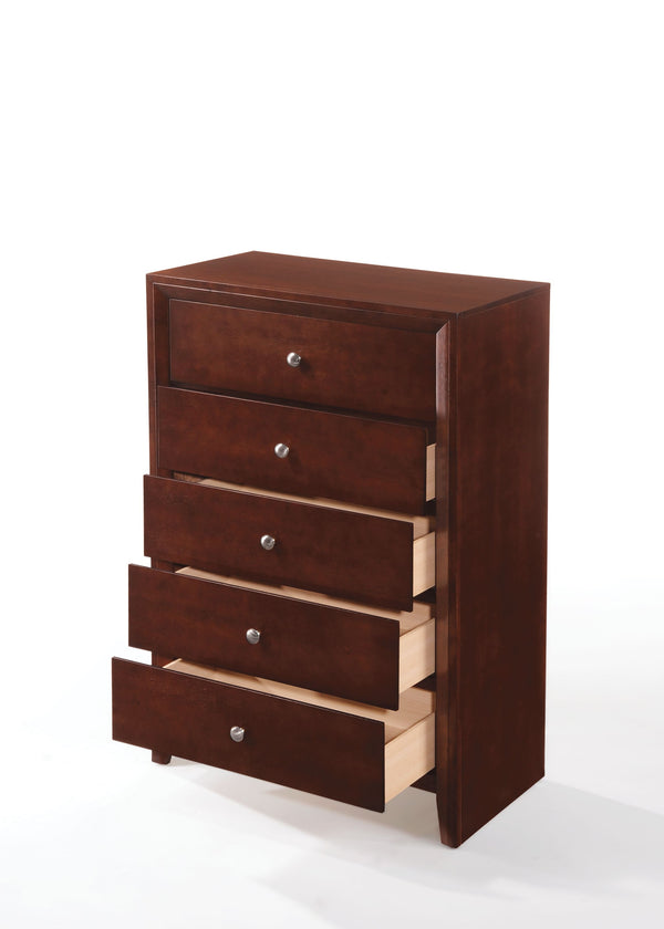 Contemporary Style Wooden Chest with 5 Storage Drawers, Brown - BM205629