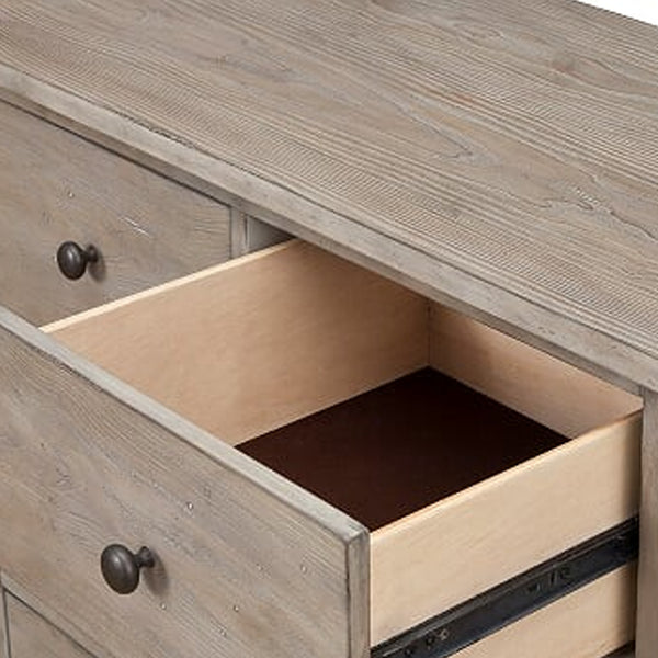 4 Drawer Transitional Style Chest with Wood Grain Details, Gray - BM205700