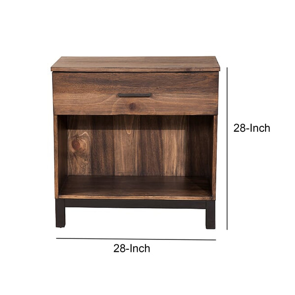 Two Tone Nightstand with 1 Drawer and 1 Open Compartment, Brown - BM205706