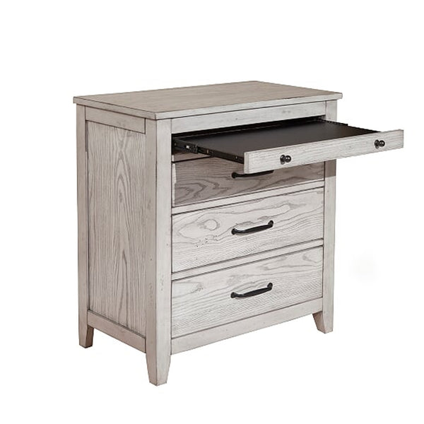 Transitional Style Three Drawer Nightstand with Pull Out Tray, Gray - BM205712