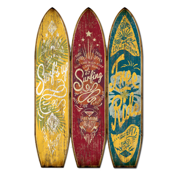 Beach Themed Surfboard Shaped 3 Panel Wooden Room Divider, Multicolor - BM205779
