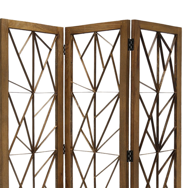 Wooden Handcrafted 3 Panel Room Divider with Intricate Iron Design, Brown - BM205789