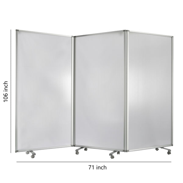 Accordion Style Plastic Inserts 3 Panel Room Divider with Casters, Gray - BM205794