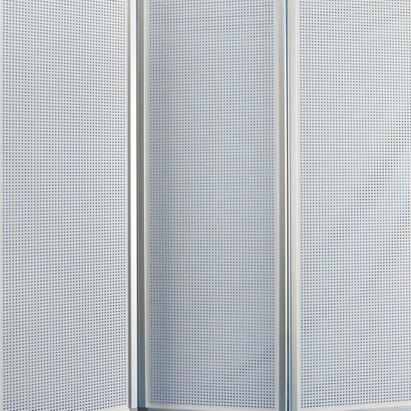 Accordion Style Metal 3 Panel Room Divider with Perforated Details, White - BM205795