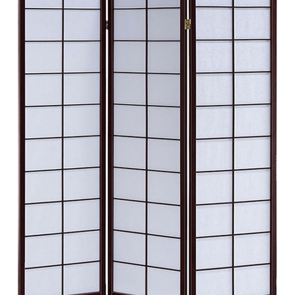 3 Panel Wooden Room Divider with Shoji Paper Inserts, White and Dark Brown - BM205809