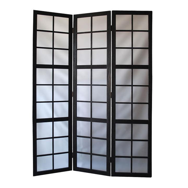 3 Panel Room Divider with Frosted Glass Like Plastic Inserts, Black and White - BM205813