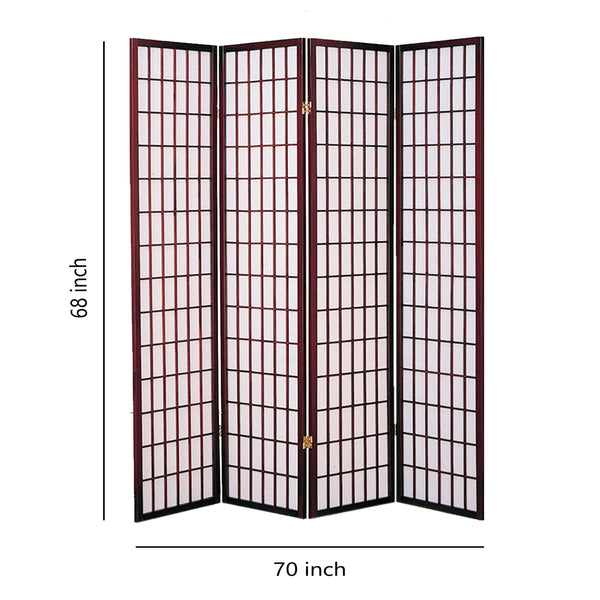 4 Panel Room Divider with Shoji Inserts, Cherry Brown and White - BM205815
