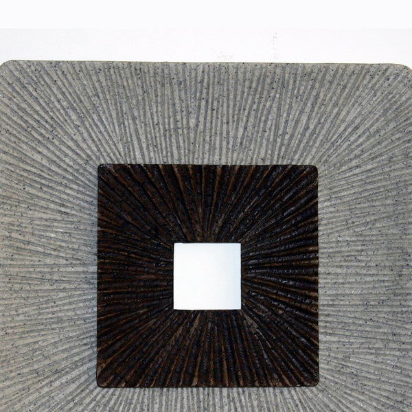 Square Shaped Wall Decor with Ribbed Details, Large, Brown and Gray - BM205835