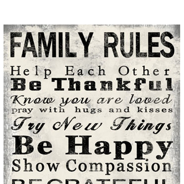 Rectangle Wall Art with Family Quotes Typography, Set of 2, Black and White - BM205849