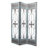 Transitional 3 Panel Screen with Iron Motif Panels, Gray - BM205855