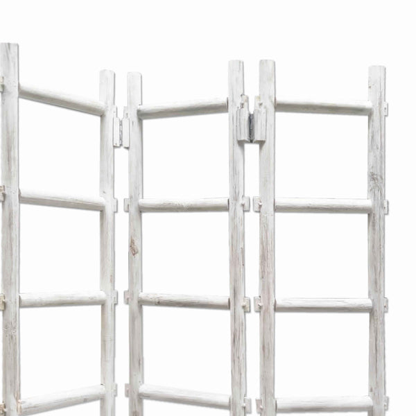 Contemporary 3 Panel Wooden Screen with Ladder Design, White - BM205872