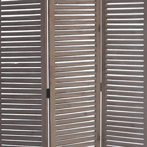 Minimal Wooden Screen with 3 Panels and Shutter Design, Brown - BM205876