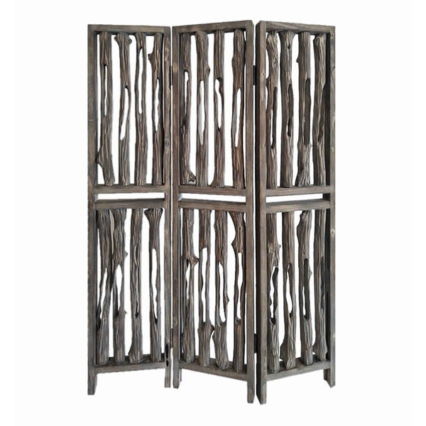 Contemporary 3 Panel Wooden Screen with Log Design, Brown - BM205884