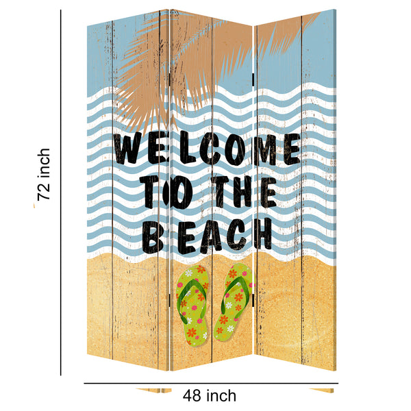Foldable Canvas Screen with Beach Print and 3 Panels, Multicolor - BM205889