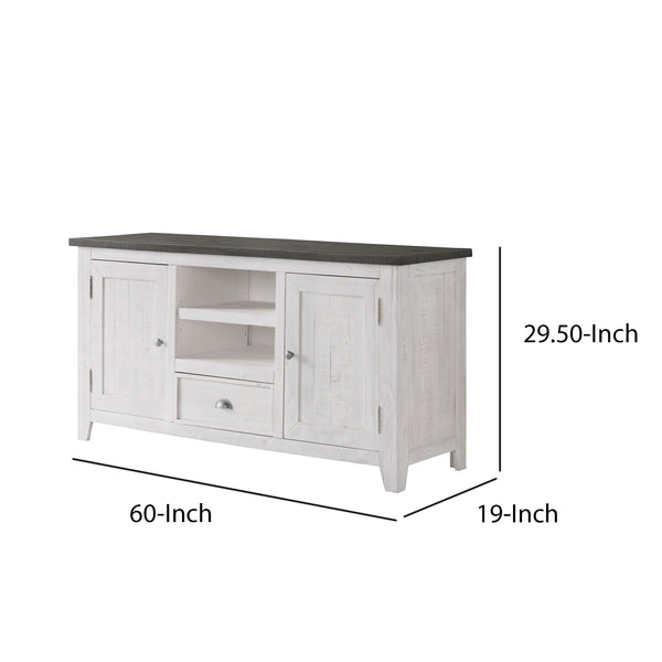 Coastal Wooden TV Stand with 2 Cabinets and 1 Drawer, White and Gray - BM205962