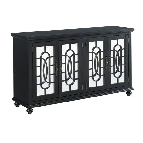 Trellis Front Wood and Glass TV stand with Cabinet Storage, Black - BM205970