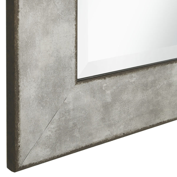 Stylish Rectangular Polystyrene Framed Leaner Mirror, Rusted Metal - BM205985