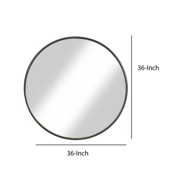 Contemporary Round Metal Framed Wall Mirror, Large, Bronze and Silver - BM205990