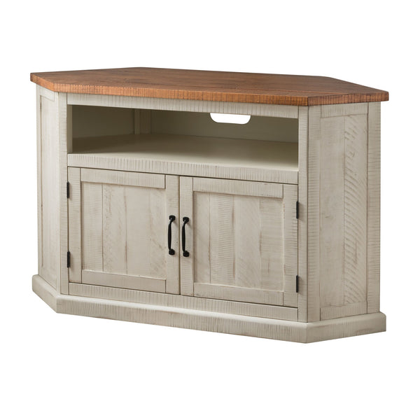 Rustic Wooden Corner TV Stand with 2 Door Cabinet, Antique White and Brown - BM206000
