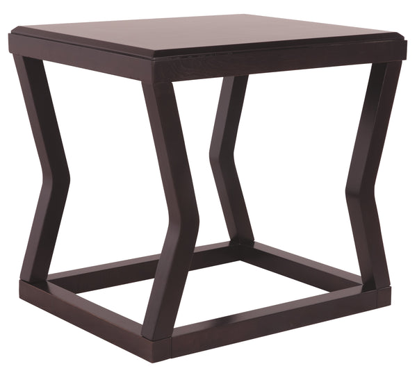 Wooden End Table With Rectangular Top and Sturdy Angular Legs, Brown - BM206144