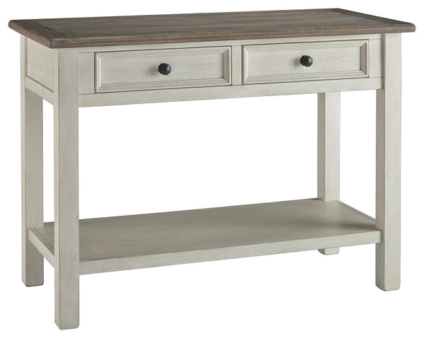 Sofa Table With Plank Style Top and 2 Gliding Drawers, Brown and White - BM206150