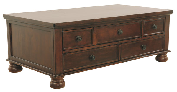 Rectangular Cocktail Table With 5 Drawers and Turned Bun Feet, Brown - BM206152