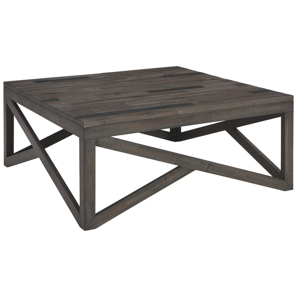 Square Cocktail Table With Butcher Block Top and Lambda Design, Gray - BM206160