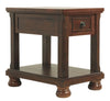 Chair Side End Table With 1 Drawer and Fixed Base Shelf, Brown - BM206168