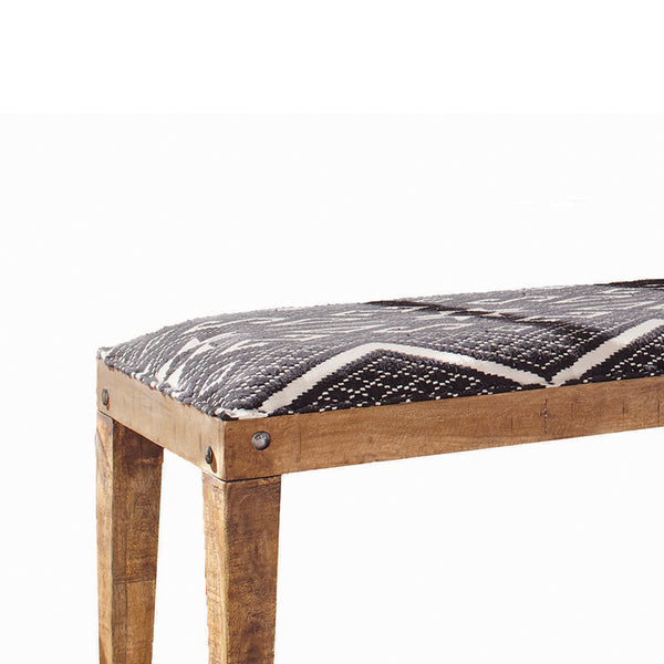 Fabric Upholstered Wooden Bench with Tapered Legs, Brown and Blue - BM206488