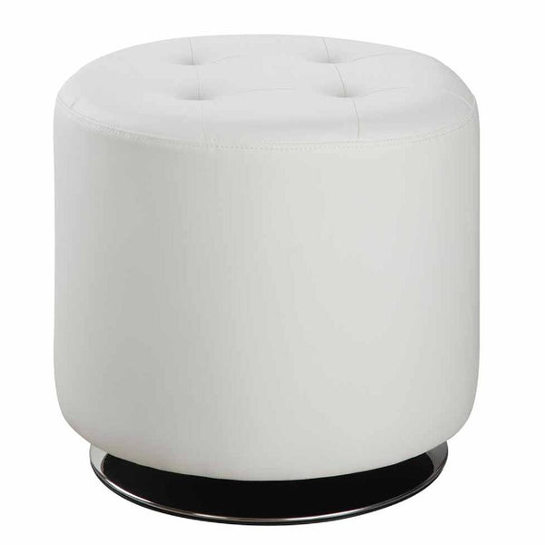 Round Leatherette Swivel Ottoman with Tufted Seat, White and Black - BM206527