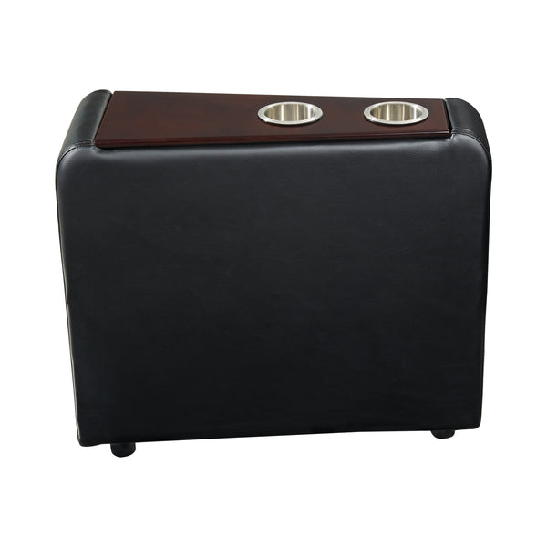 Leatherette Console with 2 Removable Metal Cup Holders, Black and Silver - BM206530
