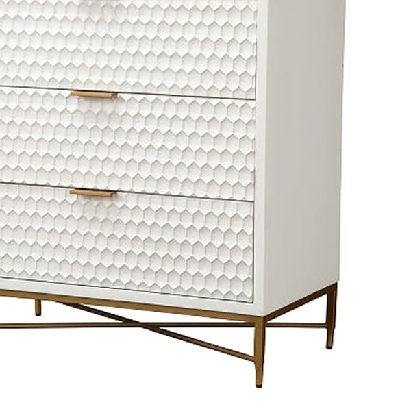 Honeycomb Design 3 Drawer Chest with Metal Legs, Small, White - BM206687