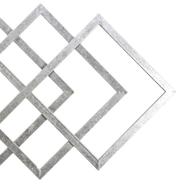 Contemporary Metal Wall Decor with Geometric Shape, Silver - BM206734