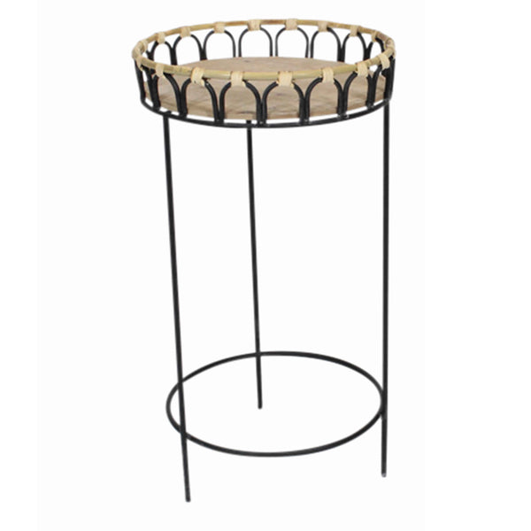Round Metal Planter Stand with Tubular Legs, Set of 2, Brown and Black - BM206741