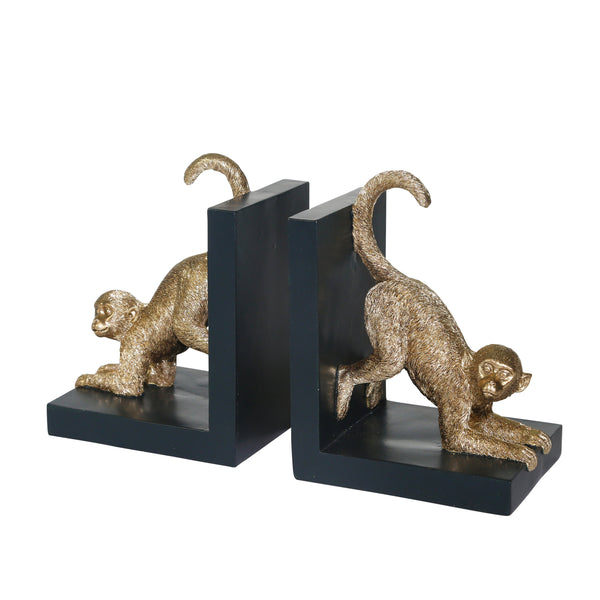 Wooden Bookend with Polyresin Monkey Figurine, Pair of 2, Black and Gold - BM206743