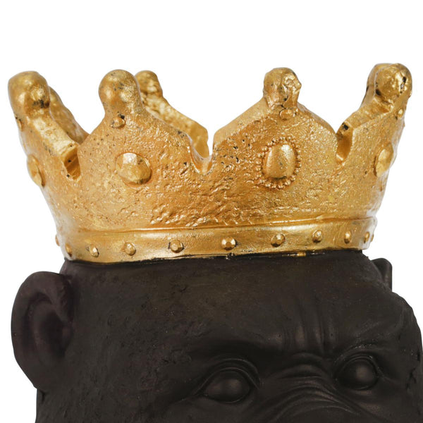 Polyresin Decorative Gorilla Figurine with Crown, Gold and Black - BM206753