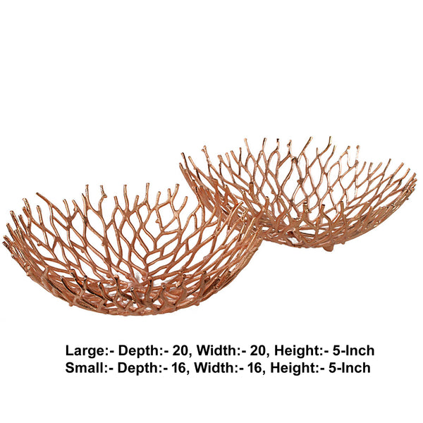 Metal Decorative Bowls with Twigs Design, Rose Gold, Set of 2 - BM206842