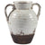 Ceramic Decorative Vase in Amphora Shape, Small, White and Brown - BM207248