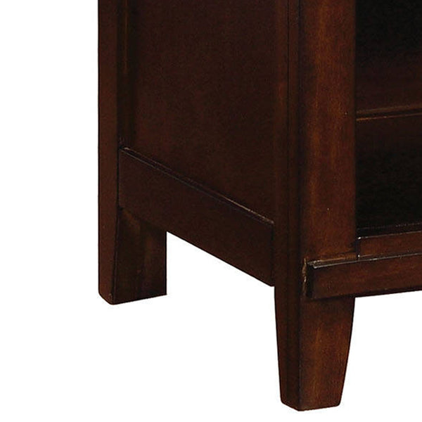 Wooden Nightstand with 1 Drawer and Open Shelf in Cherry Brown - BM207313
