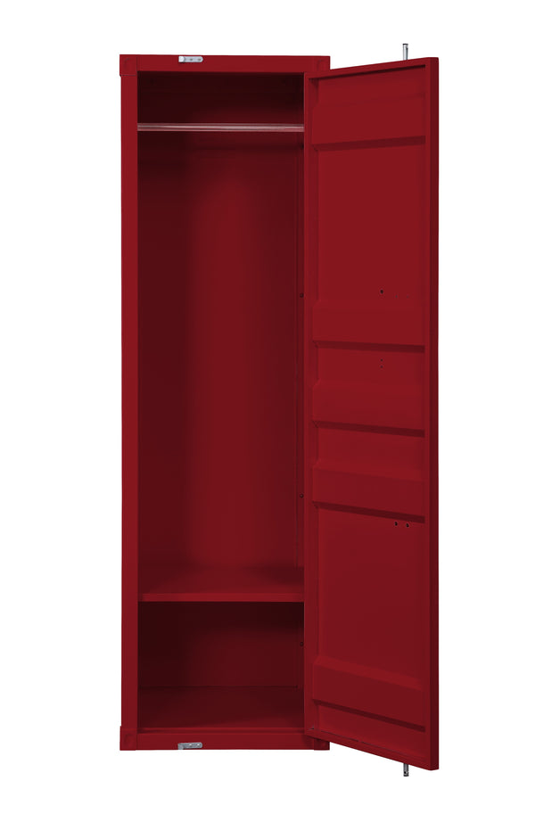 Single Door Wardrobe with Double Storage Compartment and Cremone Bolt, Red - BM207431