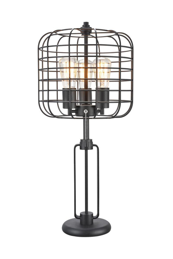 Contemporary Style Caged Shade Table Lamp with Open Design,Black - BM207452