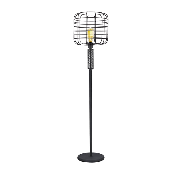 Modern Caged Shape Floor Lamp with Circular Base and Mesh Pattern, Black - BM207455