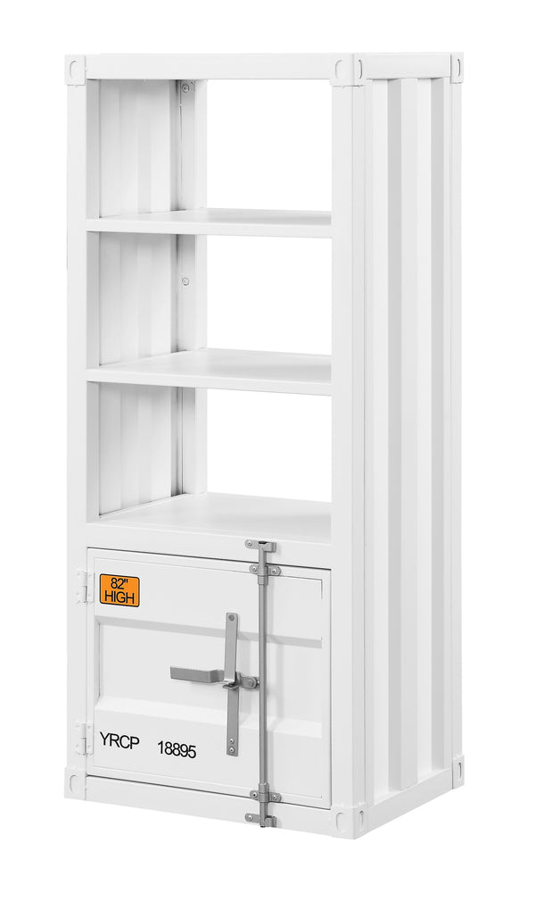 Industrial Style Metal Right Side Pier with 3 Open Shelves, White - BM207476