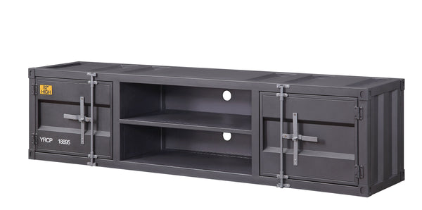 Industrial Container Style TV Stand with Two Open Shelves, Gray - BM207477