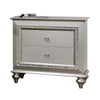 2 Drawer Spacious Nightstand with Mirror Beveled Pulls, Silver - BM207486