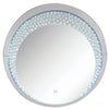 Round Accent Wall Decor with LED Bulb and Beveled Edges, Silver - BM207527