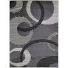 84 X 60 Inches Polyester Rug with Abstract Geometric Striped Rings in Gray and White - BM207796