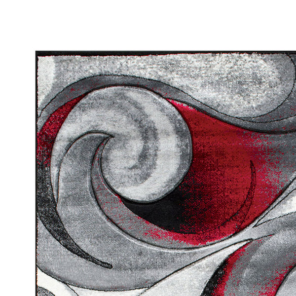 84 X 60 Inches Power Loom Polyester Rug with Curvaceous Line Print in Red and Gray - BM207800