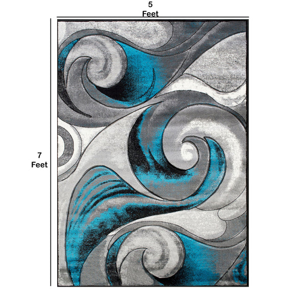 84 X 60 Inches Power Loom Polyester Rug with Curvaceous Line Print in Blue and Gray - BM207801